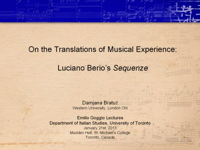 On the Translation of Musical Experience: Luciano Berio's Sequenze